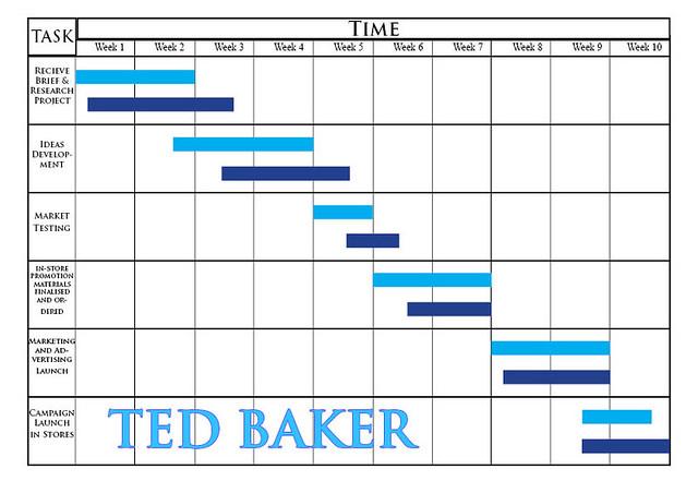 initial gantt chart layout