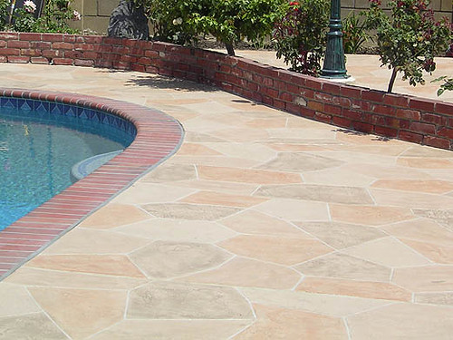 Multicolored Stamped Concrete Pool Deck Flagstone