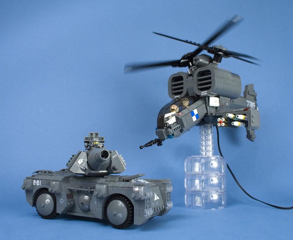 lego iron mountain legion attack helicopter and urban tank