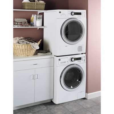 GE WCVH4800KWW 2.2 Cu. Ft. White Stackable Front Load Washer - Energy Star