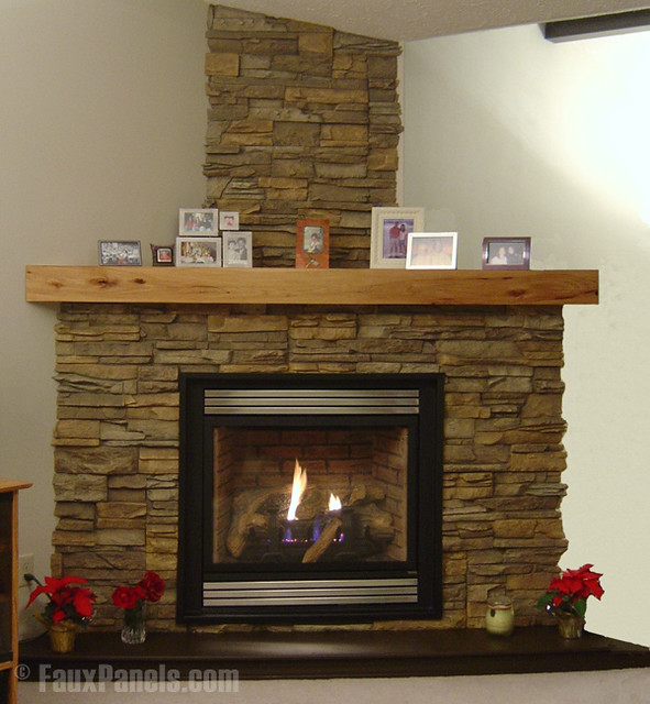 Stacked stone fireplace against white walls stone wall - Faux stacked stone interior walls ...