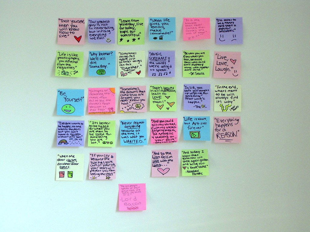 Quotes On Sticky Notes: Sticky Note Quote Wall