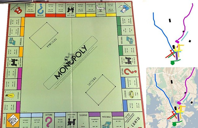 helsinki monopoly board and map i plotted the places from flickr