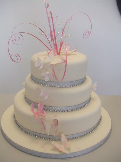 wedding cakes pink and silver pink and silver a 3 tier wedding cake with a cascade of 25284
