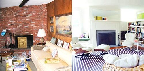 Before after living room white paint blue striped rug - Before and after living rooms ...