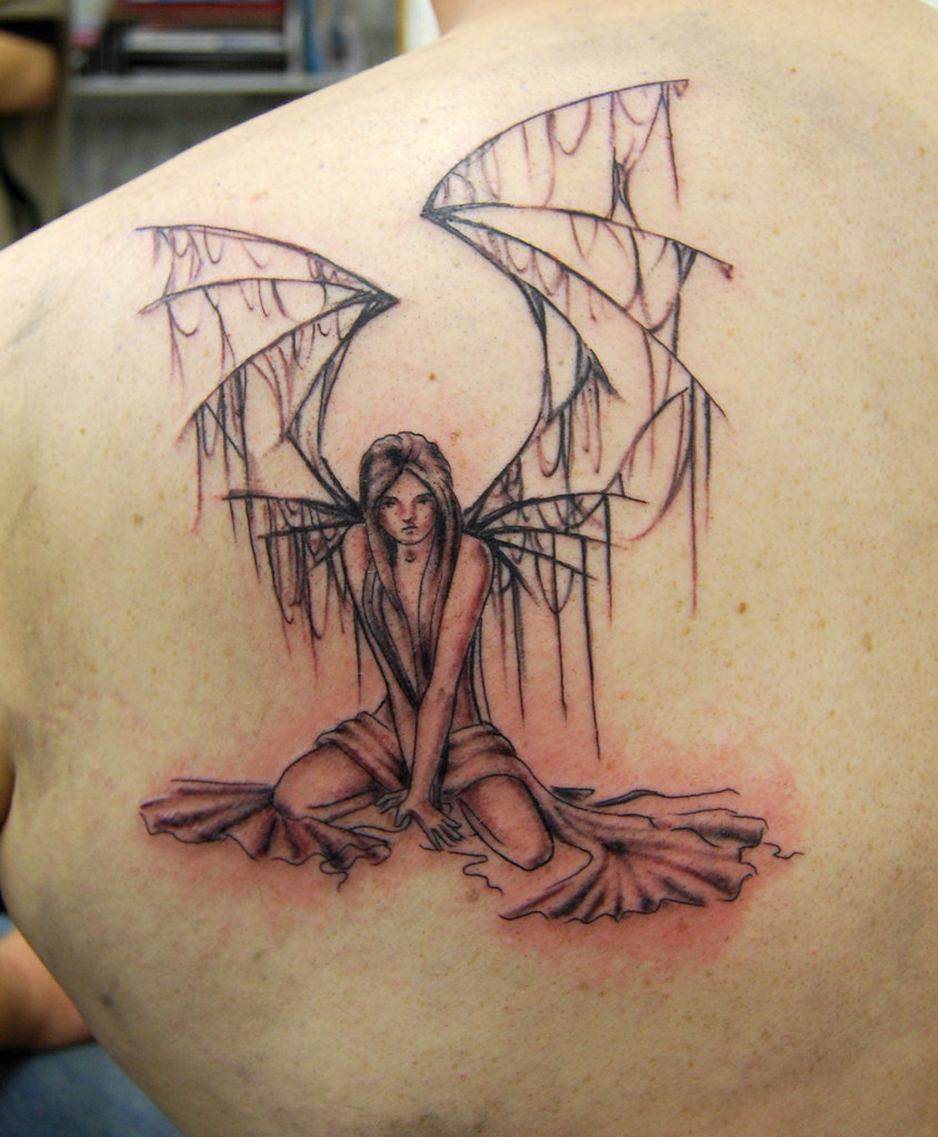 angel with broken wings tattoo | Tattooed by Johnny at ...