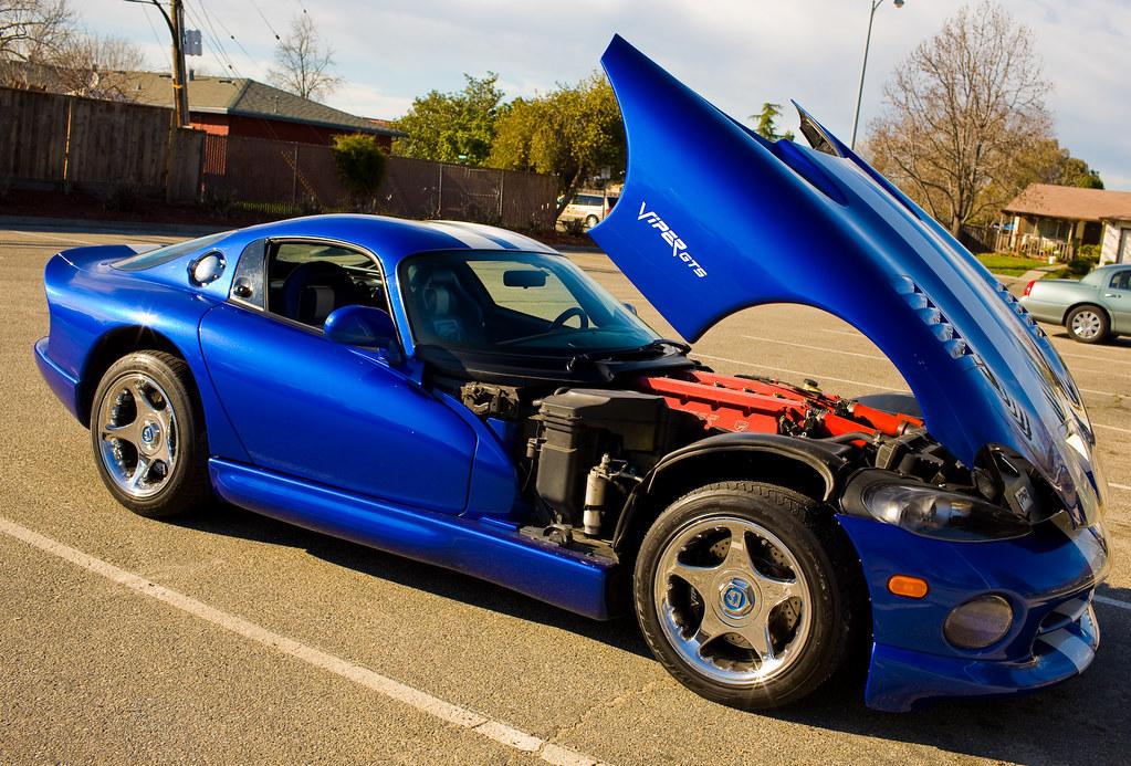 Blue And White Stripes 1997 Dodge Viper Gts Hood Open