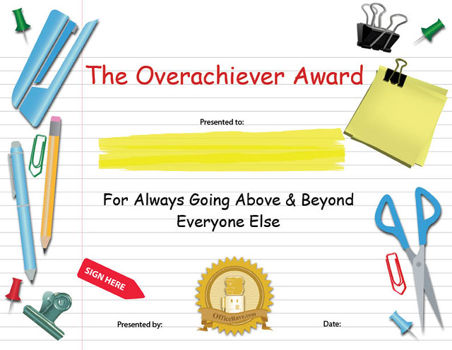 Printable Certificates: Overachiever Funny Award | Buy ...