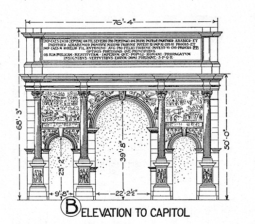 Plan With Elevation : Arch of septimus severus possibly a reconstruction elevat