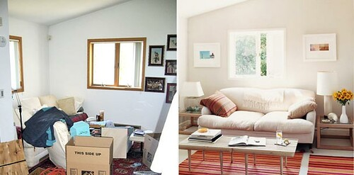 Ideas for small spaces before after living room white for Living room paint for small spaces