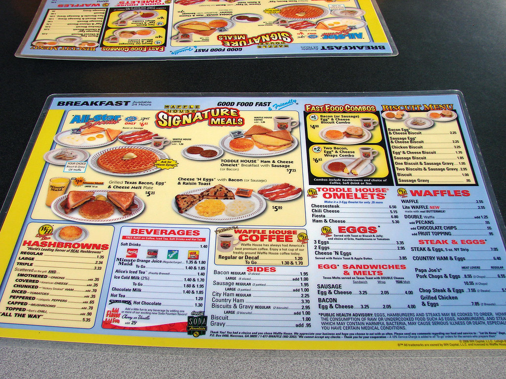 Waffle House Menu With Prices Waffle House Menu by