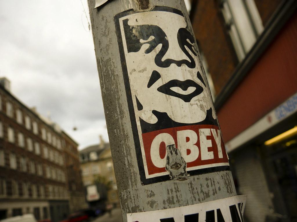 obey sticker in cph sticker art by famous urban artist