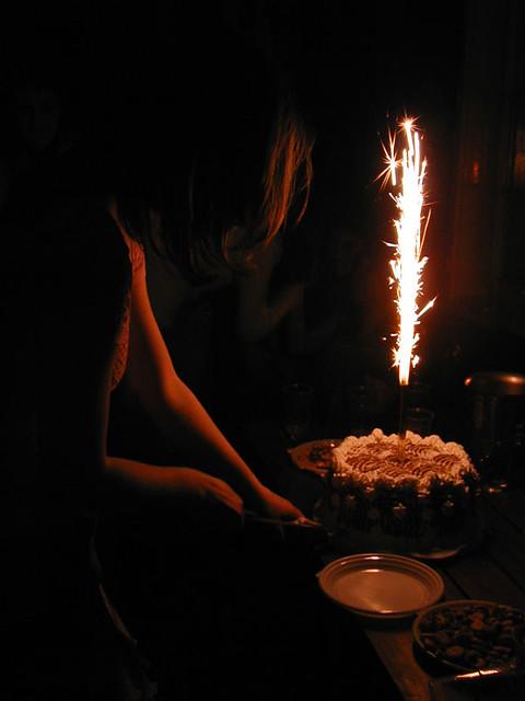 Amazing Cake With Lit Big Birthday Cake Sparkler Skylighter Co Flickr Funny Birthday Cards Online Inifodamsfinfo