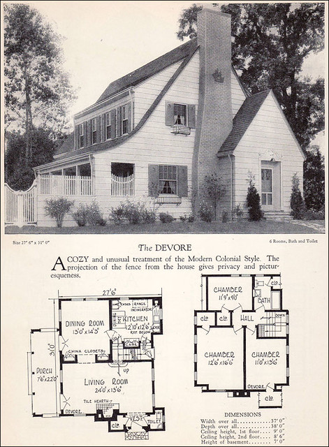 1928 Modern Colonial House & Plan | Source: Home Builders