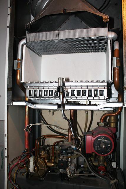 Combi boiler showing the gas burner, heat exchanger, diver… | Flickr