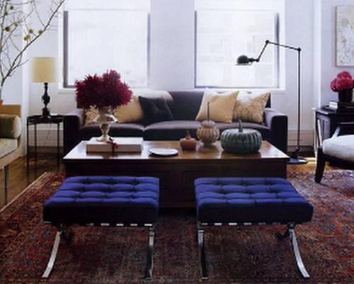 Modern-traditional mix: Persian carpet + Knoll Barcelona stools, from Elle Decor | by SarahKaron