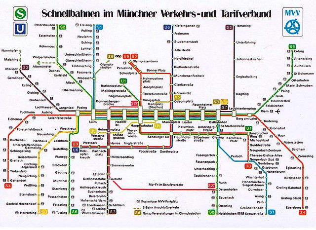 Munich S Bahn Map Munich U+S bahn Map Postcard 1988 | kotarana | Flickr Munich S Bahn Map