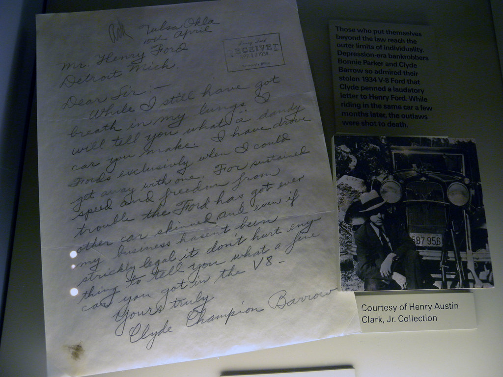 Clyde Barrow S Letter To Henry Ford Rand Mcnally Pix