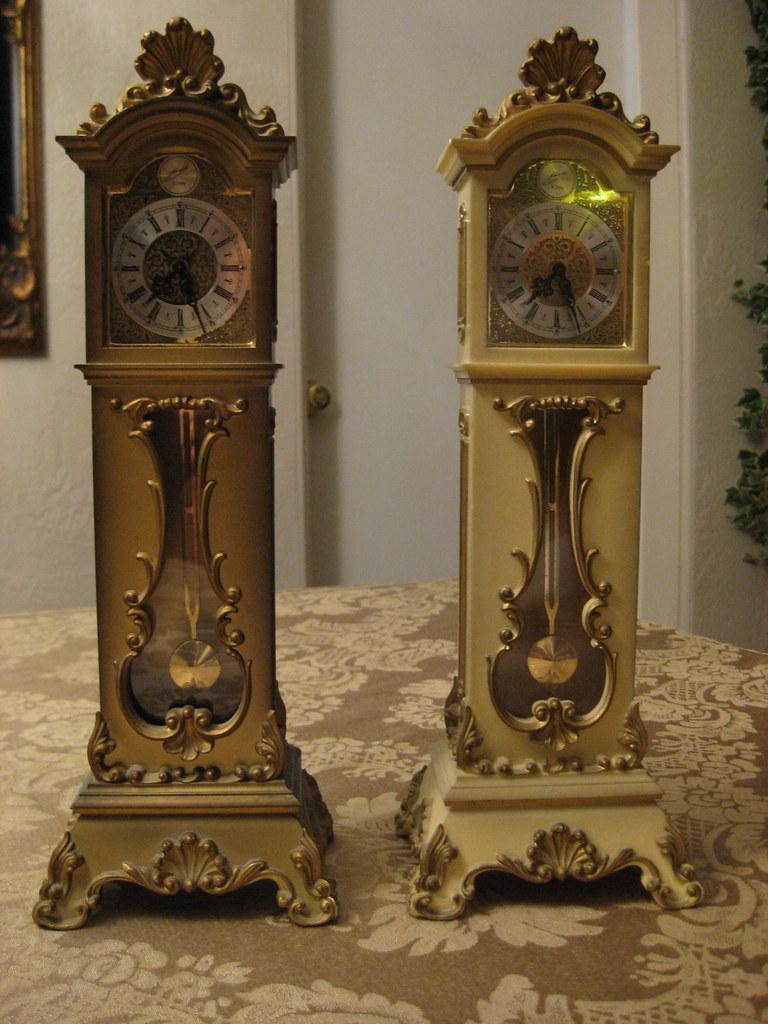Schmid 8-day miniature grandfather clocks (olive & white ...