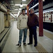 Marco Antonio and son in a Buenos Aires city subway station