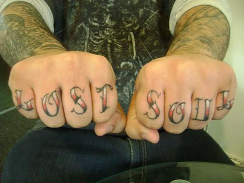 both hands lettering tattoo | Justin at Kats Like Us ...