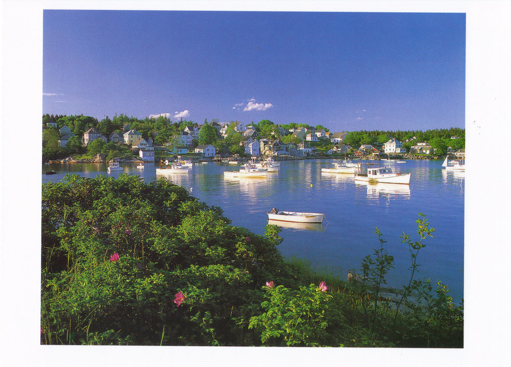 Maine fishing village postcard fishing village boats for Fishing jobs in maine