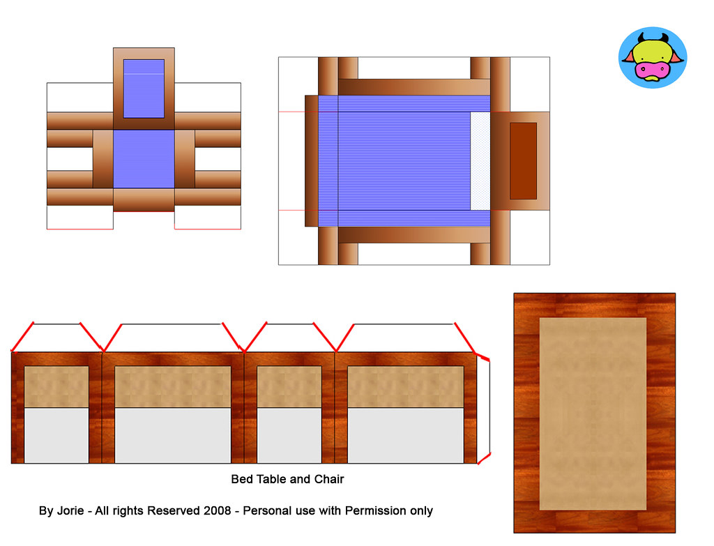 Chairbed Bed Table And Chair Printable Dollhouse