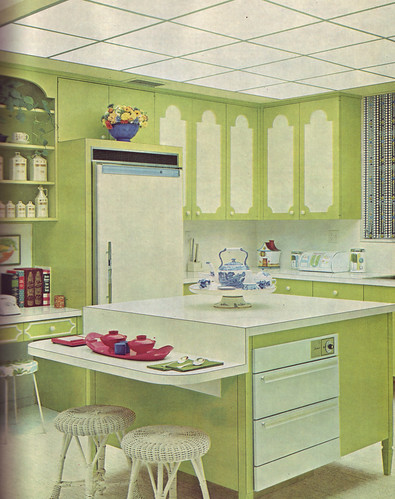 Green and white kitchen flickr photo sharing for Avocado kitchen cabinets