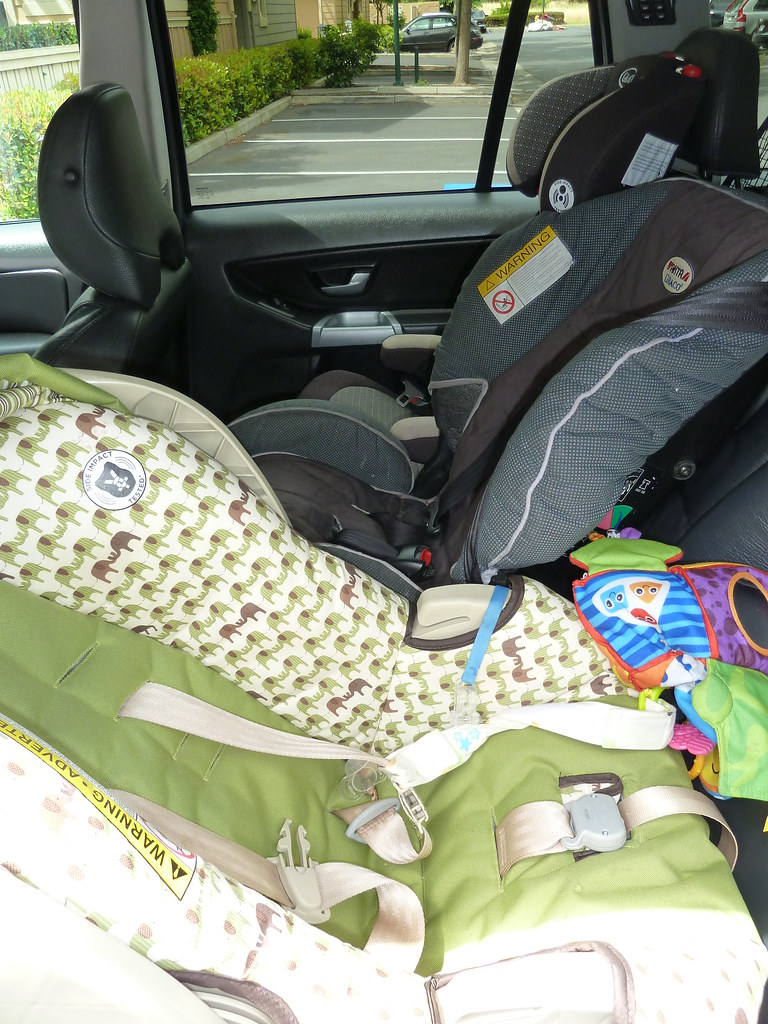 back seat fits three car seats without problem latching s flickr. Black Bedroom Furniture Sets. Home Design Ideas
