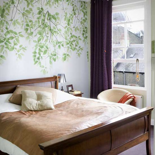Lovely Bedroom: Modern Leaf Wallpaper + Neutral Linens + S