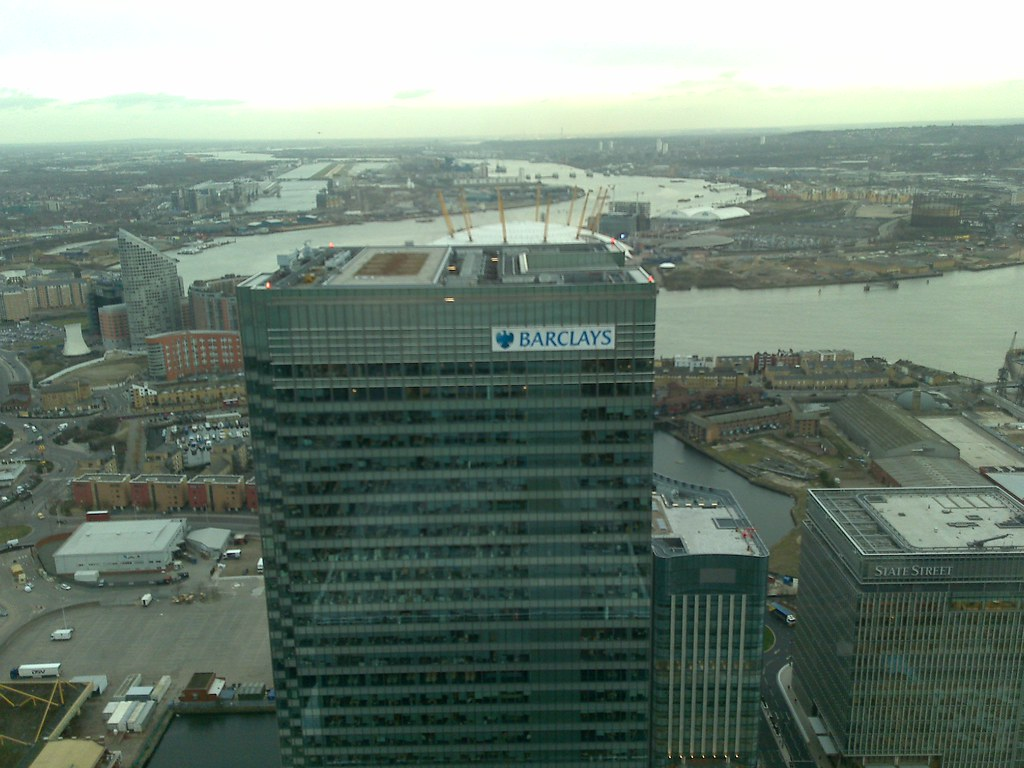 barclays bank canary wharf view over o2 arena from. Black Bedroom Furniture Sets. Home Design Ideas