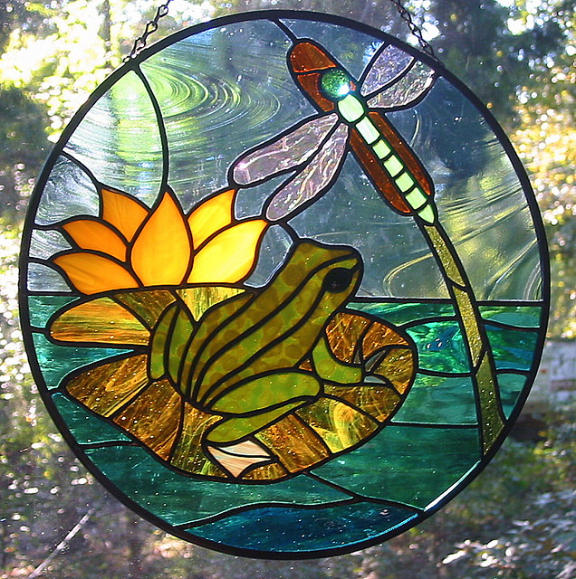 Frog And Dragonfly Round Stained Glass Suncatcher It Got