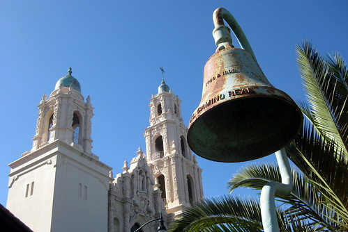San Francisco - Mission District: El Camino Real Mission Bell and Mission Dolores Basilica | by wallyg