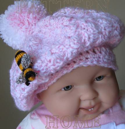 Free Crochet Pattern Child s Beret : PDF crochet pattern TAM with POM-POM and BEE-BROOCH for ba ...