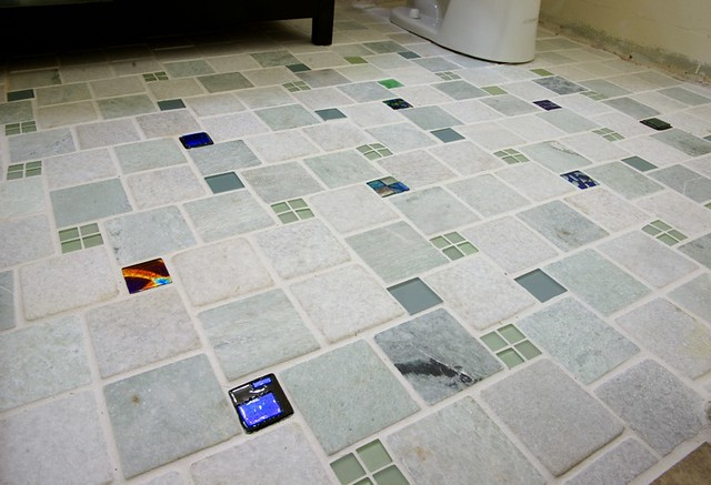 Bathroom Floor Tiles With Uneek Glass Fusions Glass Accent Flickr