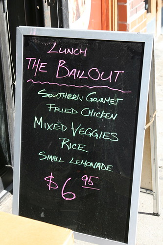 "Sidewalk sign for ""The Bailout"" lunch at Soul Fixins', West 34th Street, New York 