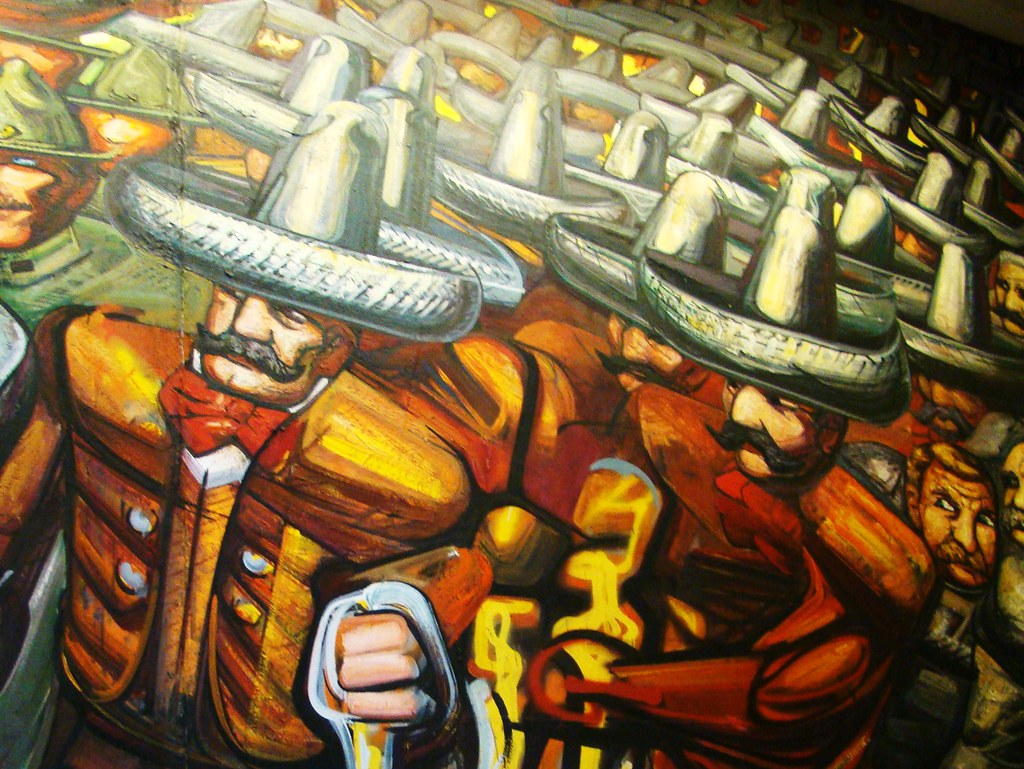 Mexican revolution by david alfaro siqueiros sea of somb for Mural siqueiros