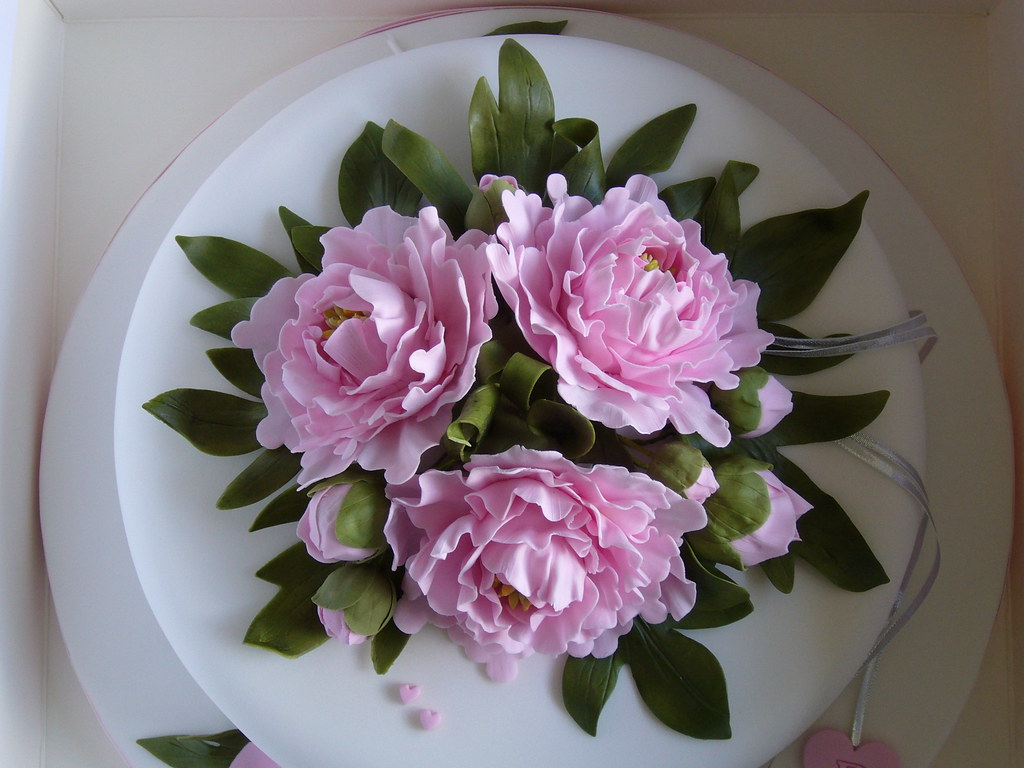 Silver Anniversary Cake Top View Sugar Flowers Pamela