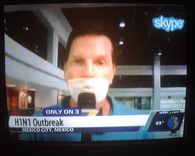 WTKR TV news reporter broadcasting back to Virginia via Sk