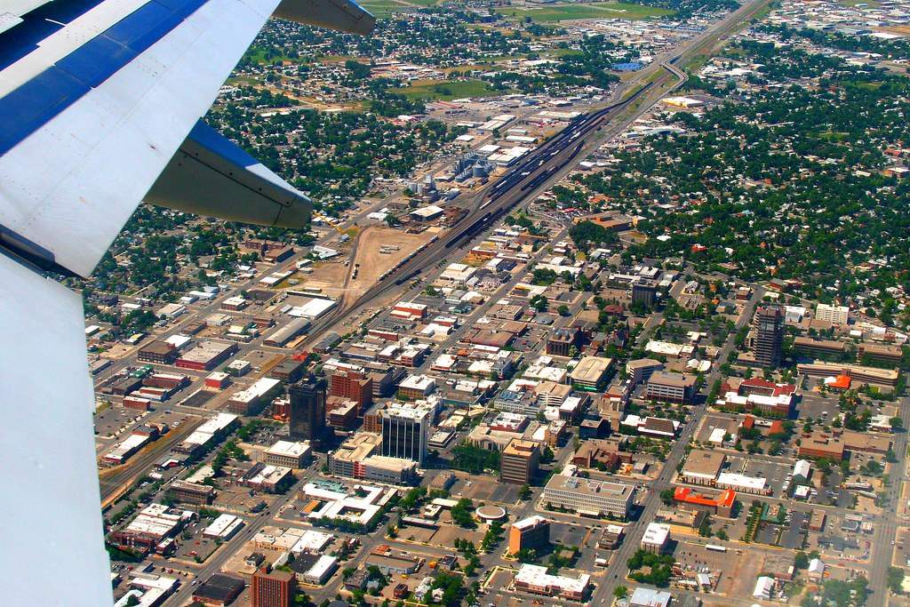 Downtown Billings Montana As Seen From An Airplane On