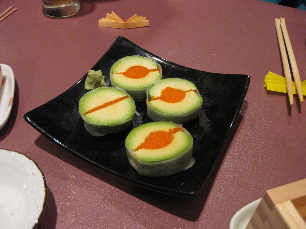 Avocado Sashimi | Avocado and tobiko wrapped in a thin slice ...