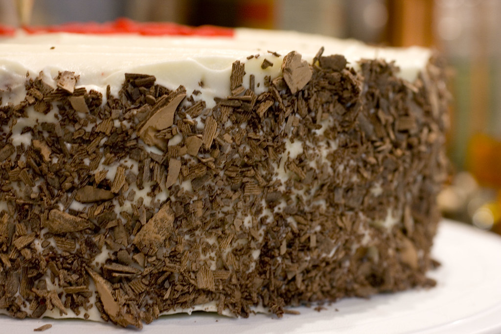 Chocolate Shavings On Side Of Cake