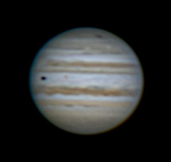 Jupiter with GRS, Io and new impact scar | by nudenut