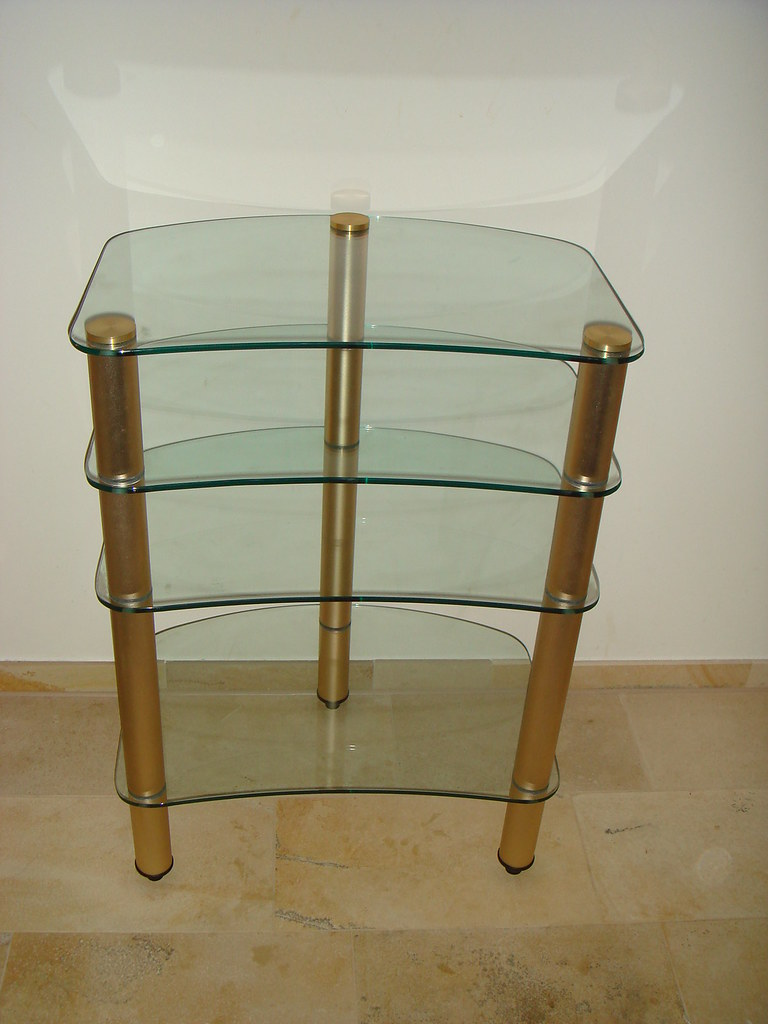 Narrow Tall Curved Glass TV Stand
