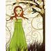 Mixed Media  Girl Painting Art by Sascalia