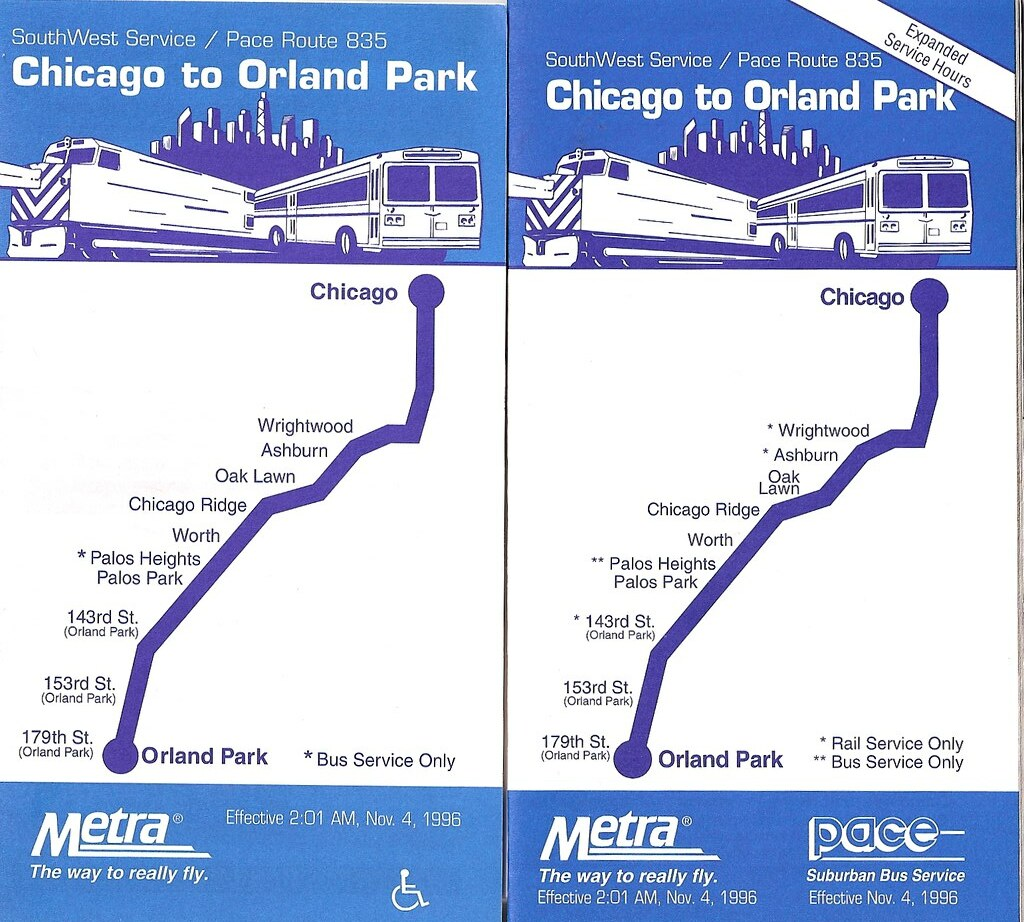 Metra Southwest Service 1996 Old Schedules From When