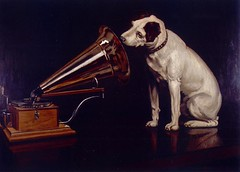 "Dog Looking at and Listening to a Phonograph, ""His Master's Voice"", The Original RCA Music Puppy Dog Logo Symbol for Advertising 
