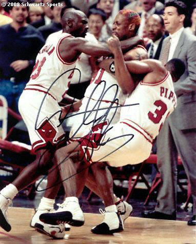 dennis rodman gets tackled by michael jordan and scottie p