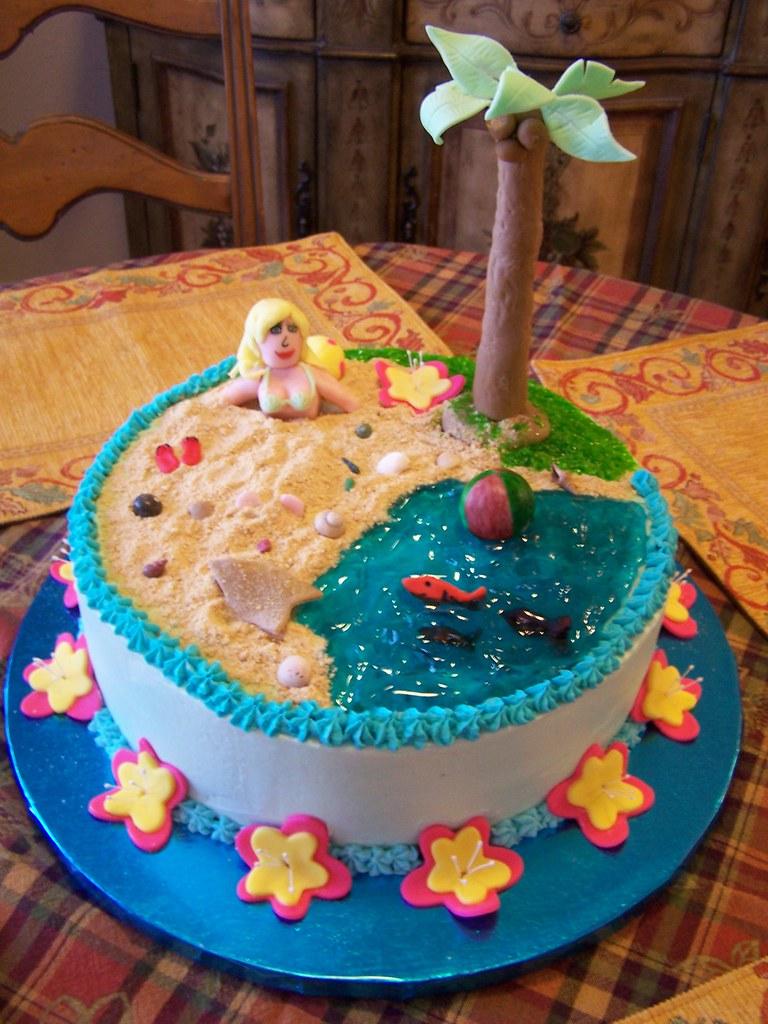 Adult Hawaiian Themed Birthday Cake