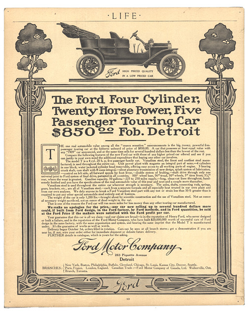 Ford Model T Advertisement From Life Magazine October 190